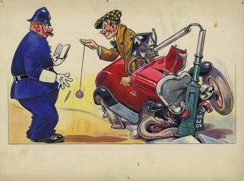 MOTOR CAR CRASH YO YO MAN w POLICEMAN